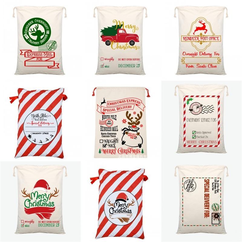 بين عشية وضحاها تسليم سانتا أكياس عيد ميلاد سعيد ديكورات قماش الرباط حقيبة 2020 حلية الحقيبة الثقيلة هدايا السكر 50 * 70CM 10 9by C2
