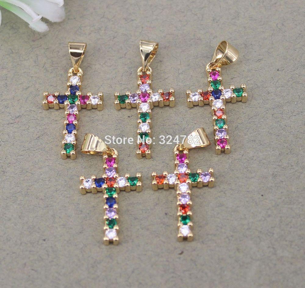 Fascini di modo 10pcs micro della CZ Croce, pendente della CZ Croce per monili che fanno