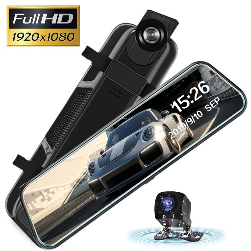 10 pouces Caméra Auto voiture rétroviseur DVR 1080p double objectif Dash Cam 170 degrés grand angle Streaming Media Recorder voiture dvr