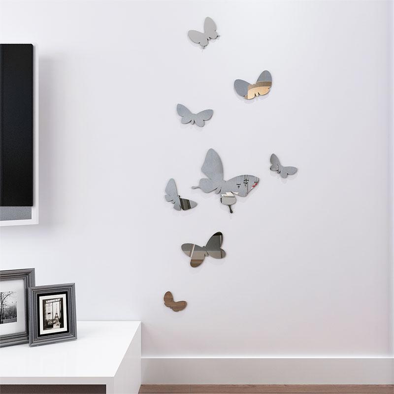 3D Butterflies Mirror Wall Sticker Home Decor DIY Art Decal Stickers Sliver Wall Stickers Party Wedding Decor Poster For Kitchen