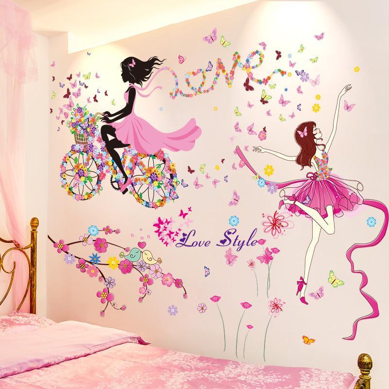 [Shijuekongjian] Cartoon Danseur fille Stickers bricolage Fleurs vélo Mural Stickers pour Maison Chambres Enfants Décoration Chambre Bébé