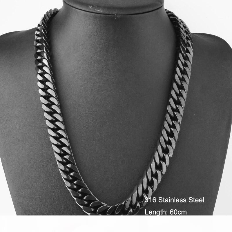 Hip acero inoxidable 316L Negro plateado trenzado encintado cubana cadena de acoplamiento del collar para los hombres de Hop Bling Bling punk Accesorios 60cm * 1.5cm