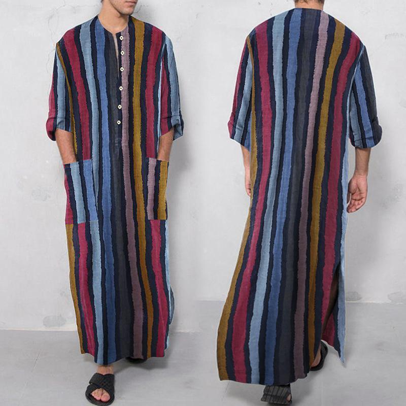 Этнические Одежда Мужские Платье Рубашки Настоящие льняные Хлопковые ночные рубашки Большой халат Короткие рукавенные халаты Кафтан Праздничный пляж Мусульманский Кафтан
