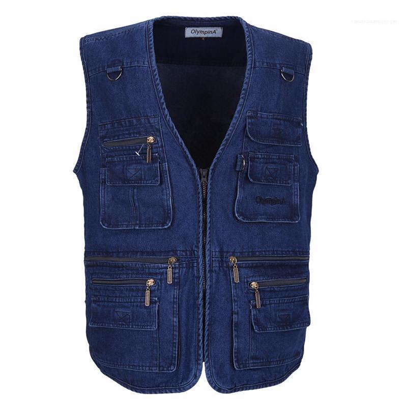 Çok Cepler Artı Boyut Dış Mekan Yelek Erkek Dış Giyim Denim Erkekler Yelek Kolsuz ceketler Mavi ile Casual Balıkçılık Yelek