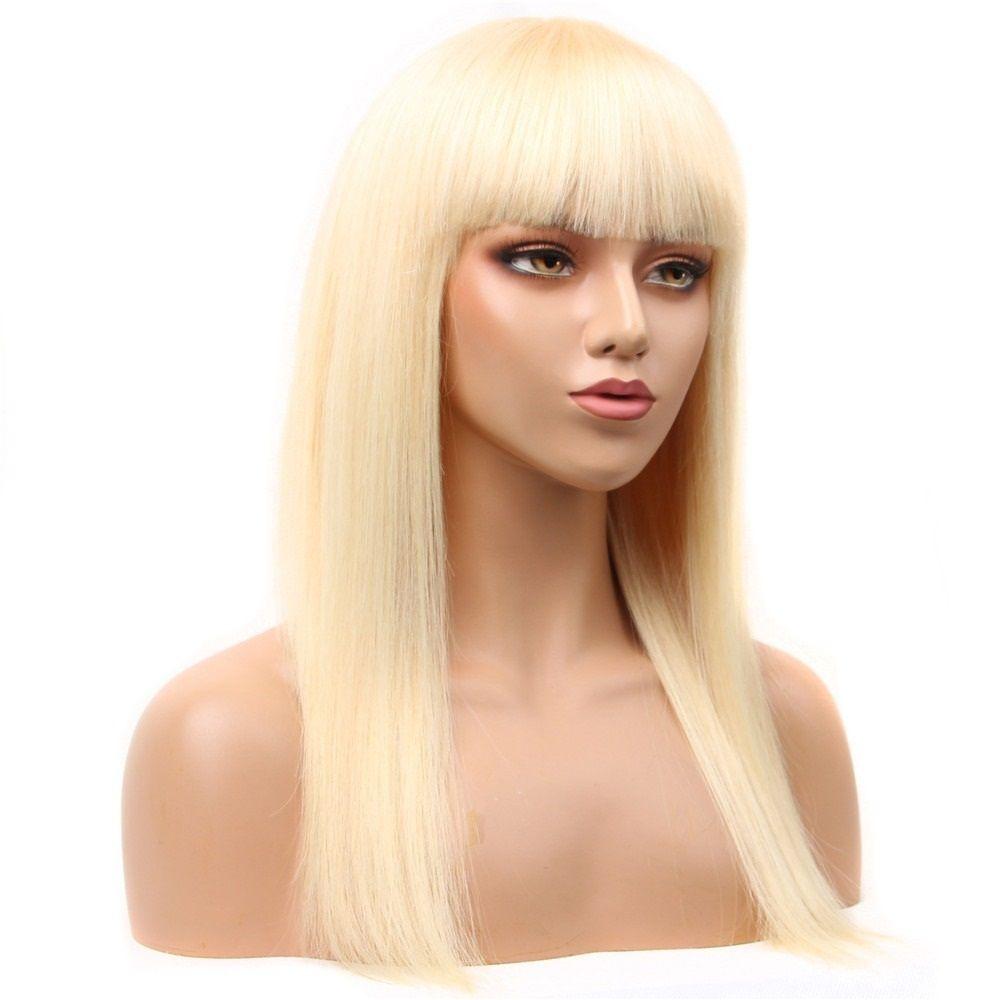 613 Blonde brasilianischen gerade Menschen Perücken mit Pony maschinell hergestellter Perücke 130 150 180% Remy Blonde Menschenhaar-Perücken 8 ~ 24inch wowwigs für Frau