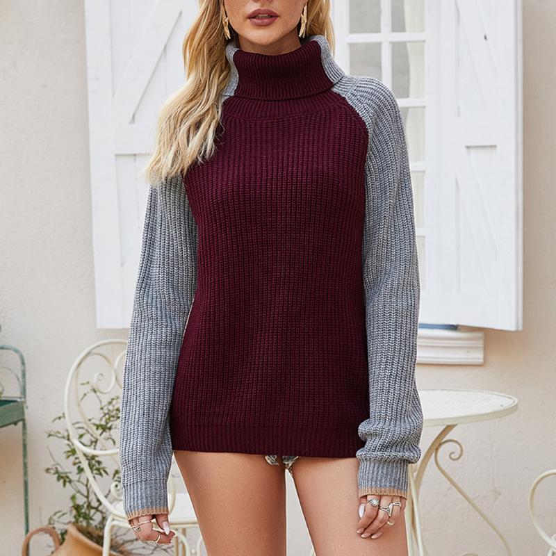 Новая осень и зима кашемира свитер женщин высокого воротника Утолщенные пуловер Свободный свитер Большой размер вязаная шерсть рубашка # 3