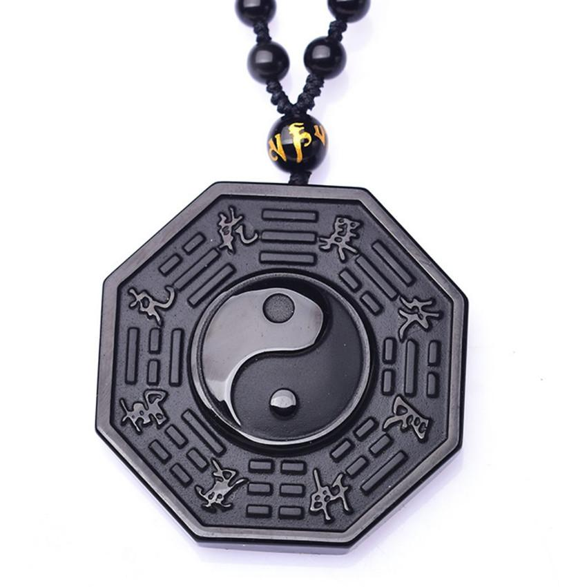 Wholesale 10 pcs Handmade Weave Black Obsidian Eight Trigrams Pendant Long Beads Chain Necklace Wolf Jewelry