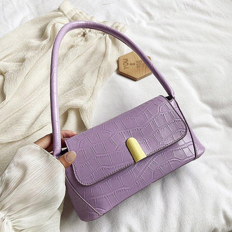 Камень шаблон конструкторов-Багет для женщин 2020 Solid Color Кожа PU плеча сумки Женщины путешествия Тотализаторов Lady подмышек Bag