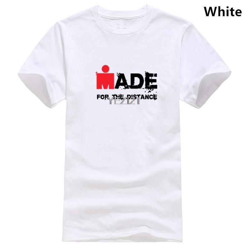 Сделано для расстояния триатлон Мужская белая футболка Размер