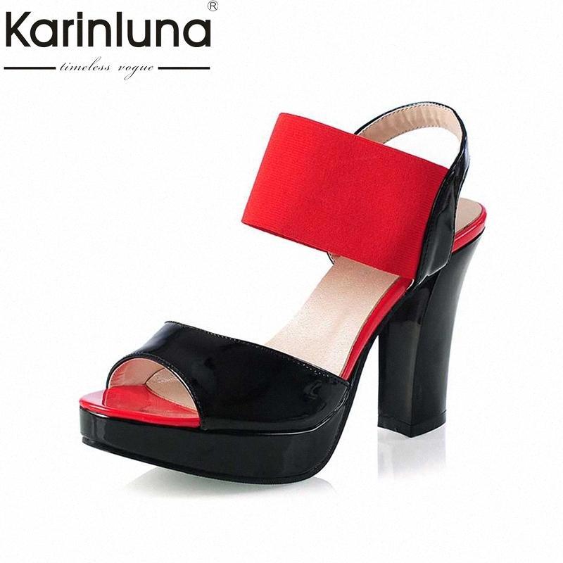 KARINLUNA tamaño grande de 30 43 2017 sandalias de tacón alto de las mujeres de telas elásticas Banda elástica correas del tobillo del dedo del pie abiertos de la plataforma Zapatos Mujer bGTa #