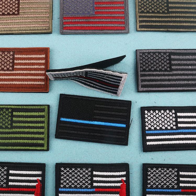 علم الولايات المتحدة الأمريكية التصحيح الحديد على بقع التطريز مع هوك حلقة للحقائب جينز الملابس DIY التطريز ملصقات شحن مجاني