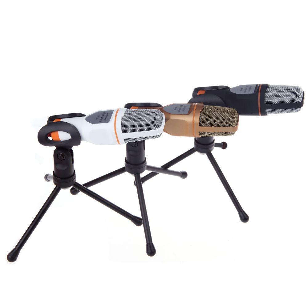 الصوت 3.5mm ستيريو سلكية المكثف SF-666 ميكروفون مع حامل حامل كليب لPC الدردشة الغناء كاريوكي المحمول بالجملة مع التعبئة والتغليف