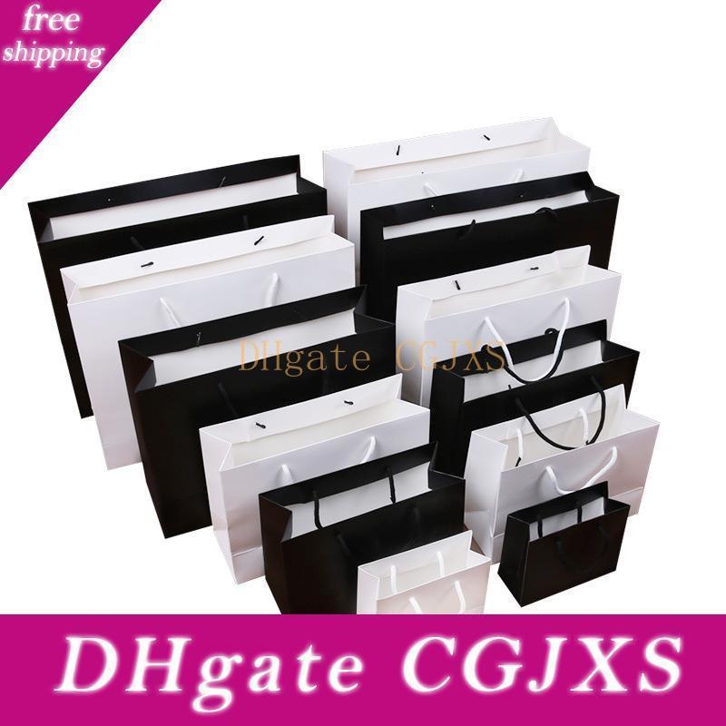 Alta calidad Negro / kraft blanco bolsa de papel con la manija del partido favor de la boda bolsas de papel de regalo Lx1391