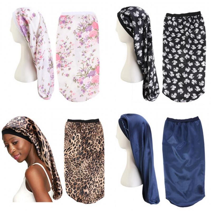 Leopard Print Flower Durags Head Wrap Beanie Fitted Hat Ponytail Droop Silk Satin Hair Bonnet Long Turban Cap Fashion 5 6baa C2