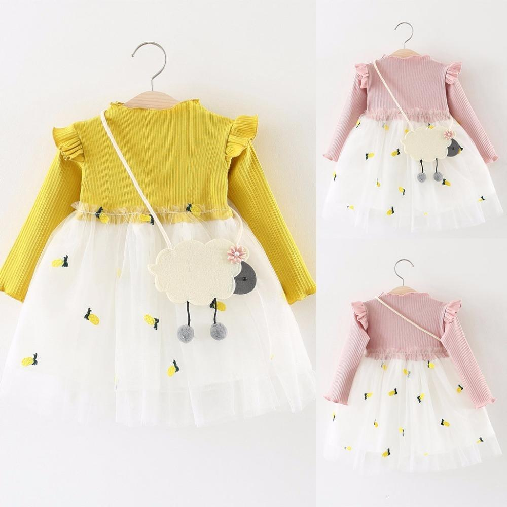newborn Toddler Baby Kids Girls Knitted Princess Cotton Tulle Dress Full Sleeve Clothes
