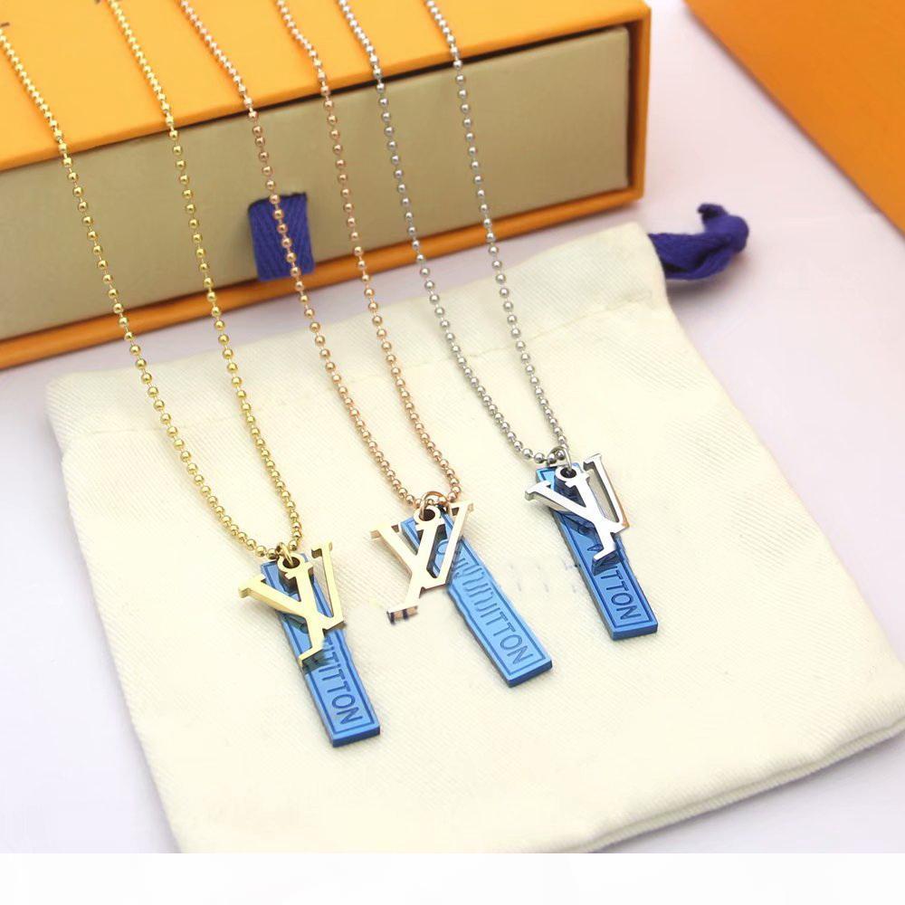 Europa Amerika Fashion Style-Mann-Dame Titanstahl 18K Gold Perlen-Ketten-Halskette mit eingravierten Initialen V Blue Square doppelter Farben-Charme