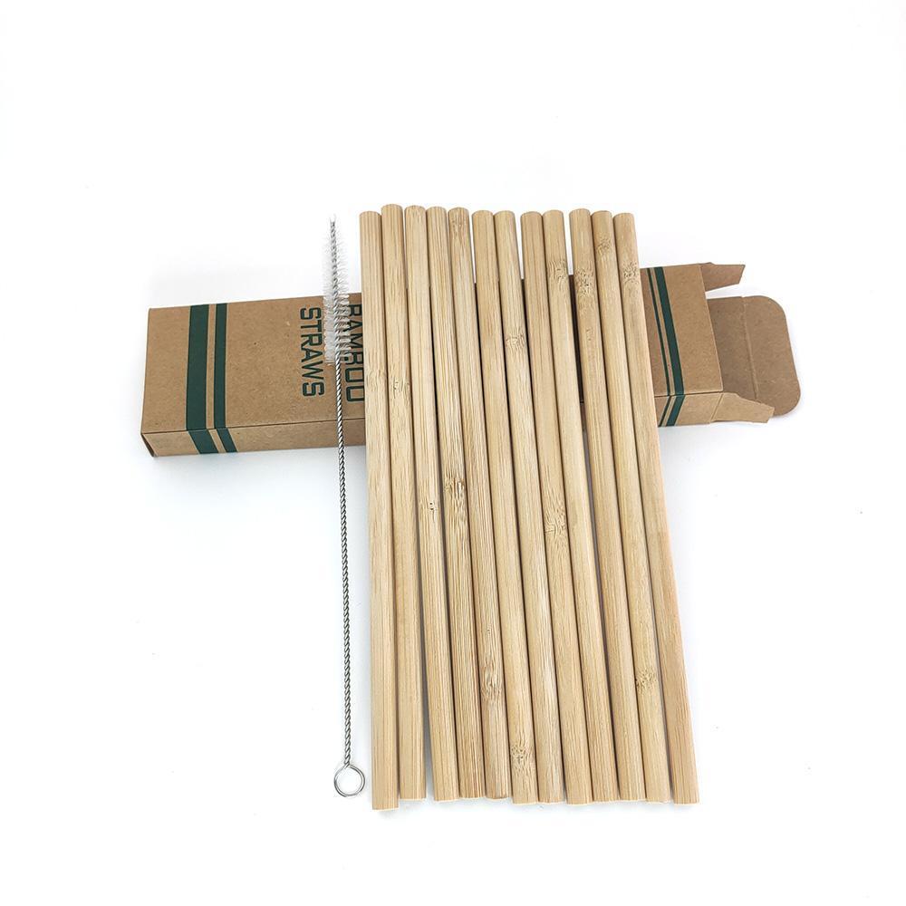 12pcs / set Alcol bambù cannucce riutilizzabile di Eco-Friendly Cannucce wih spazzola pulita Partito Cucina Forniture Bar Drinkware Accessori