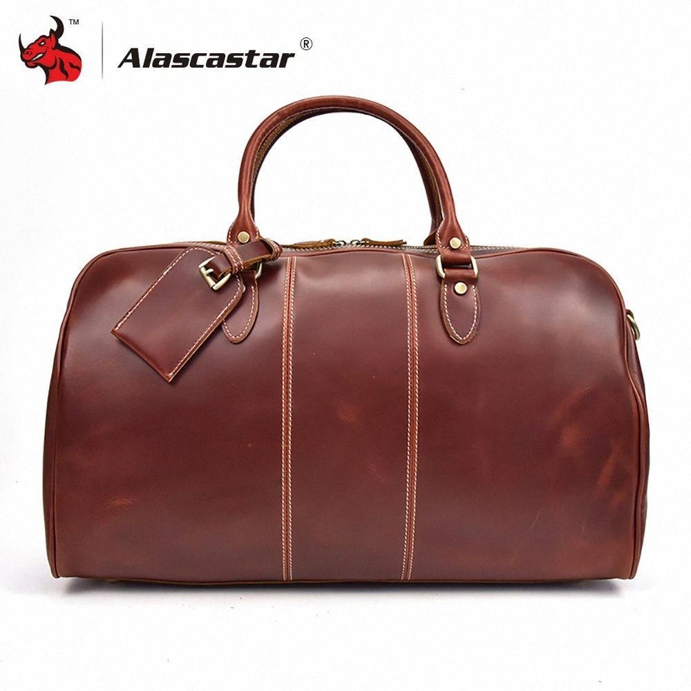 Sac à bagages pour sacs de moto Sacs de voyage en cuir de vachette en cuir rétro Vintage Vintage Vintage Sac à main Messenger Zk7e #