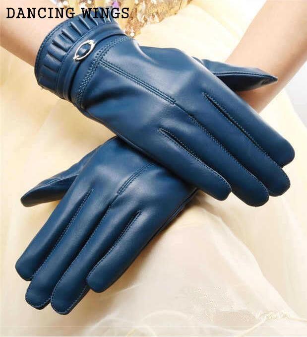 Winter-echtes Leder-Handschuhe Frauen 2020 arbeiten warme Lammfell-Handschuhe Damen Handschuhe Außerhalb 5 Farben
