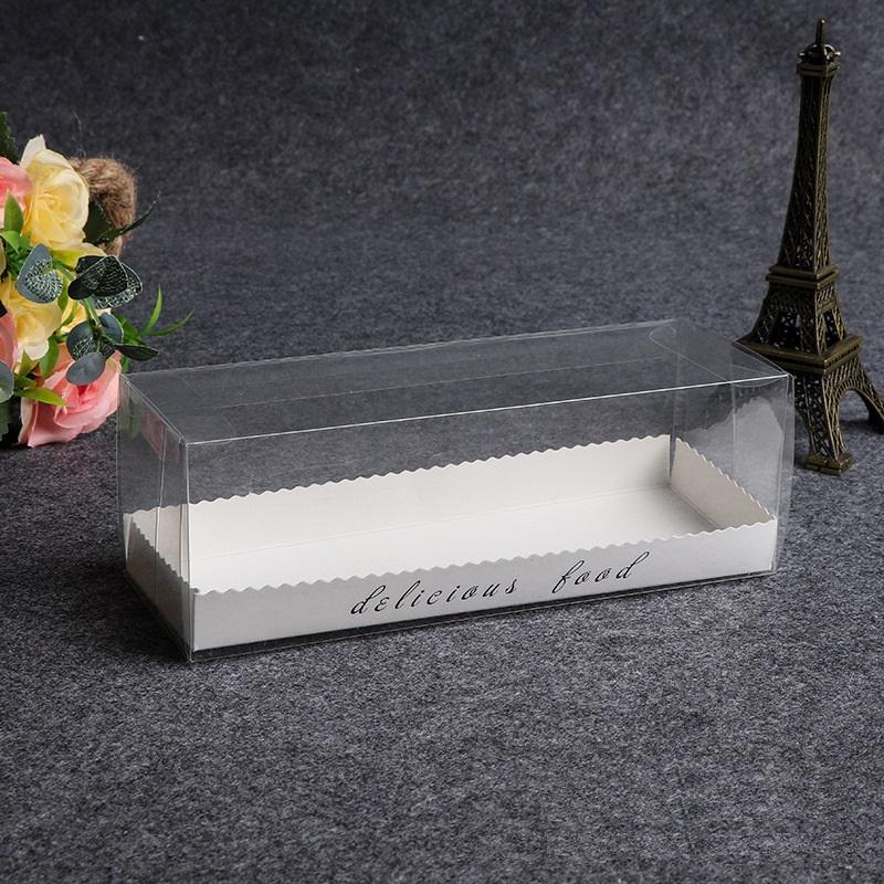 Portable transparent en plastique transparent suisse rouleau gâteau Boîte à rouler Baking Boîtes d'emballage Dessert Biscuits Boîtes WB2557