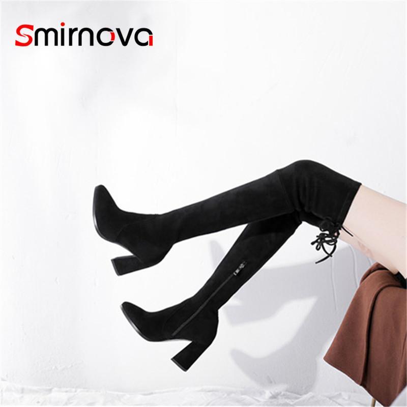 Botas Smirnova 2021 Llegada Hoof Tacones Bandada Mujer Zipper muslo Alto Damas Otoño Invierno sobre la rodilla