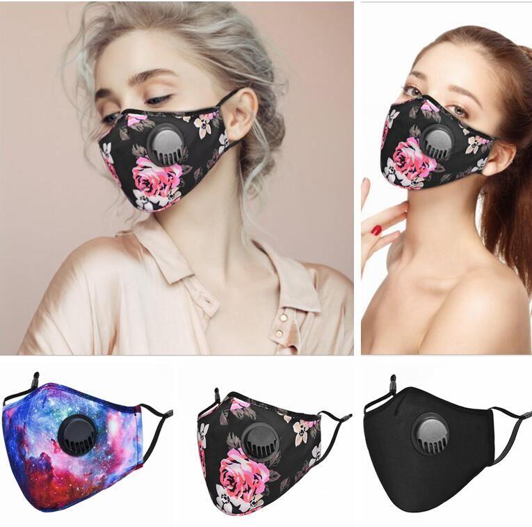 Masken mit Atemventil Peony Sternenhimmel Printed Abdeckung incude PM2.5 Filtergesichtsmaske staubdicht atmungsaktiv Maske Anti Haze Masken LSK540