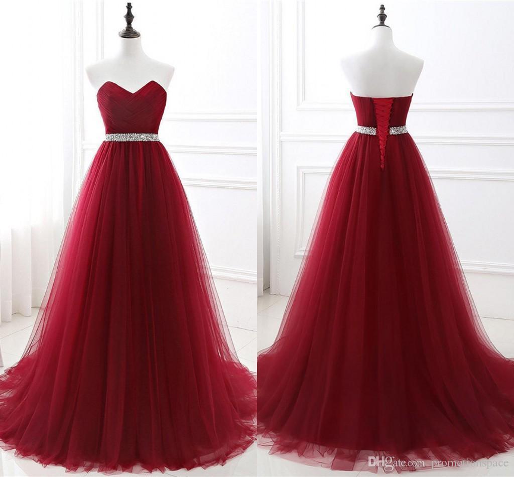 2020 NUEVO SHOETHEART CUELLO DE ABAJO CANTURA CINTURÓN Vestidos de noche Sexy Backless Borgoña Una línea diseñada por la noche vestidos de fiesta CPS551