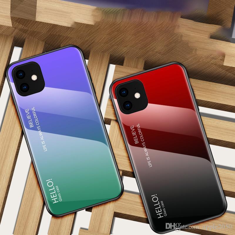 التدرج حالة الزجاج المقسى ل iphone11 XS XR ماكس ل iphonex 7 8 زائد حالة الهاتف المحمول غطاء الساخنة