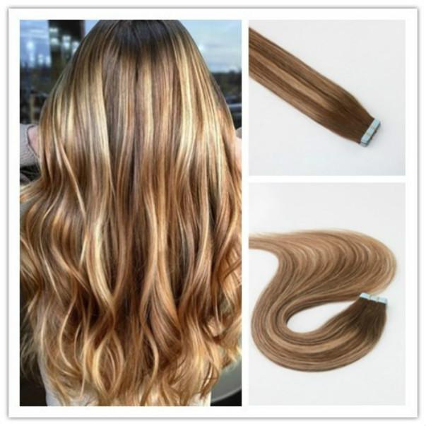 BALAYAGE اللون 27/04 ريمي الشعر مستقيم جودة عالية أفضل بيع PU الشريط الشعر 100G لكل حزمة في سوق الأسهم