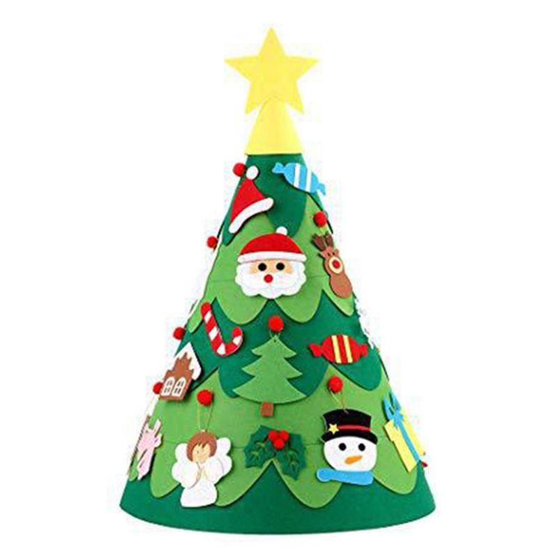 Diy Felt Weihnachtsbaum Schneemann mit Verzierungen Gefälschte Weihnachtsbaum Kinder Spielzeug-Partei-Dekoration der neuen Jahr