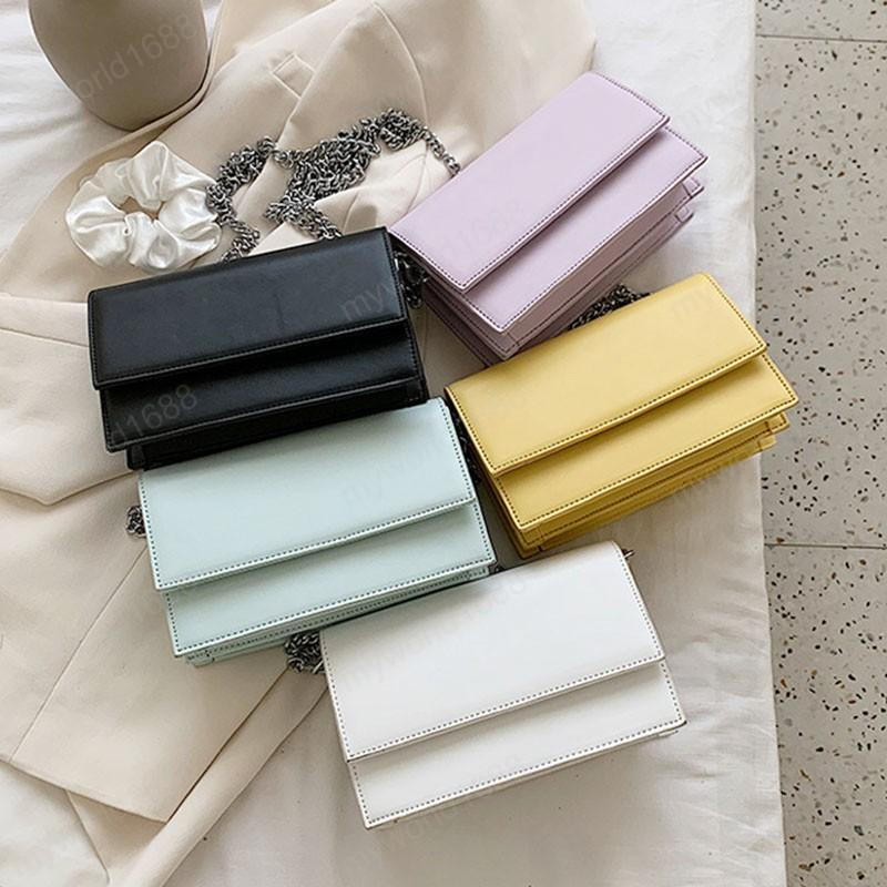 Moda Mujeres Mujer Pequeño Cuero Bolsas Simples Para Crossbody PU Nueva Textura Bolsas De Cadena De Hombro Sólido Bolsos De Color Owkbh