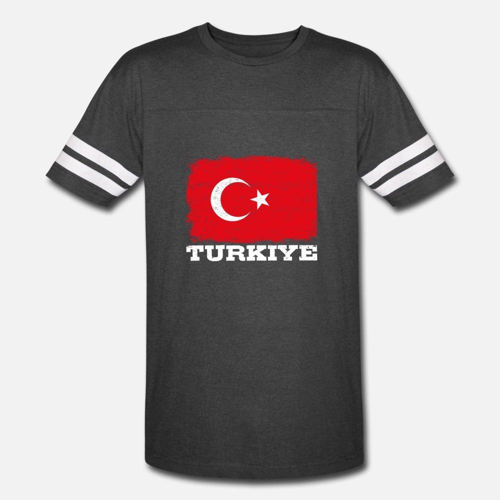 Türkische Flagge Turkiye Retro Vintage die Türkei-Geschenk T-Shirt Männer Designer Kurzarmshirt mit rundem Ausschnitt Formal Netter Grund Sommer Kawaii Hemd