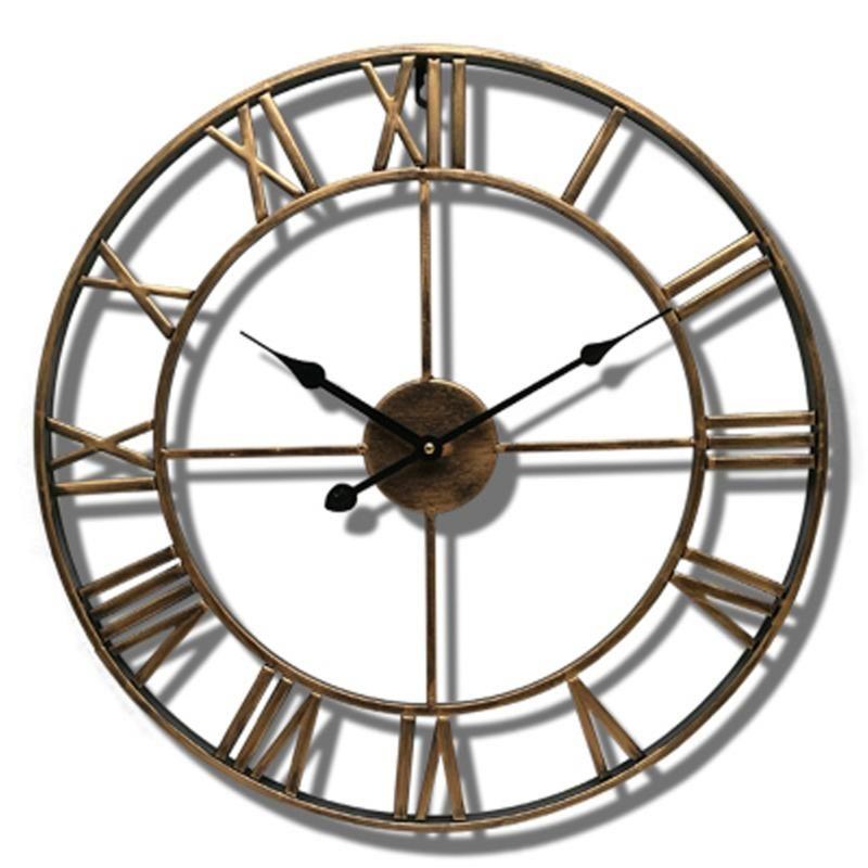 Gift Garden Hanging Ornament Metal Silent Nordic Home Decoration Roman Numerals Round Needle Wall Clocks Quartz Accurate