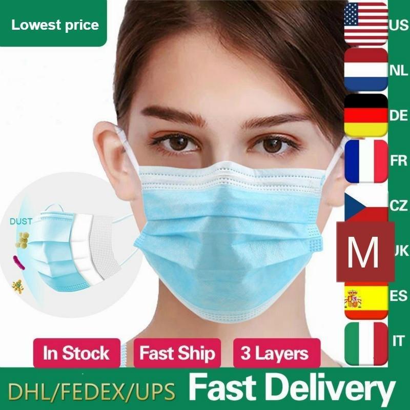 Maschere colore della maschera blu a 3 strati Filtrante in viso non tessuto Bocca Maschere PM2.5 Anti Pollution anti-polvere unisex di sicurezza di protezione