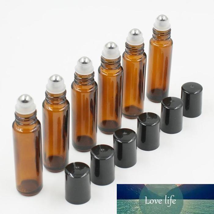 1000pcs calientes / Lot rollo de 10 ml de color ámbar en botellas de vidrio de rodillos para aceites esenciales roll-on botella de perfume recargable con el casquillo negro