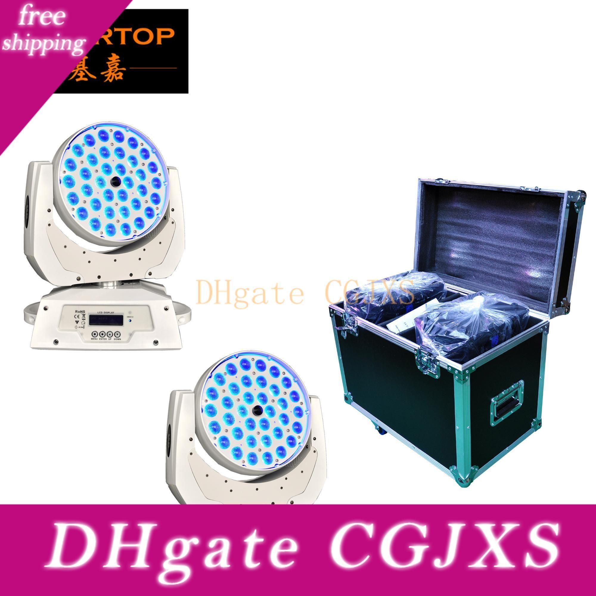 Flight Case Branco 2xlot Caso 36x10w Zoom Led Moving Head Light ajustável 15 -60 graus DMX 512 RGBW 4in1 de energia no soquete