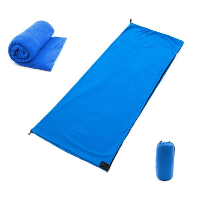 Portable Ultra-light Polar Fleece Sleeping Bag Multifunctional Zipper Outdoor Camping Blanket Travel Warm Sleeping Bag Liner