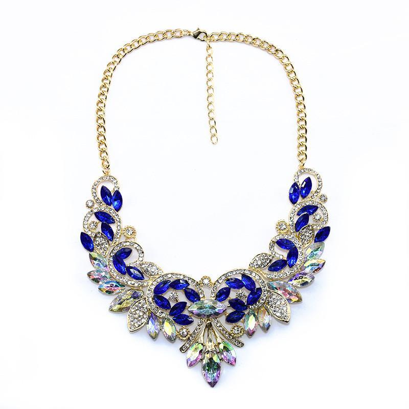 화려한 꽃 턱받이 목걸이 여성용 의상 보석 블루 레드 핑크 블루 8 색 1 개