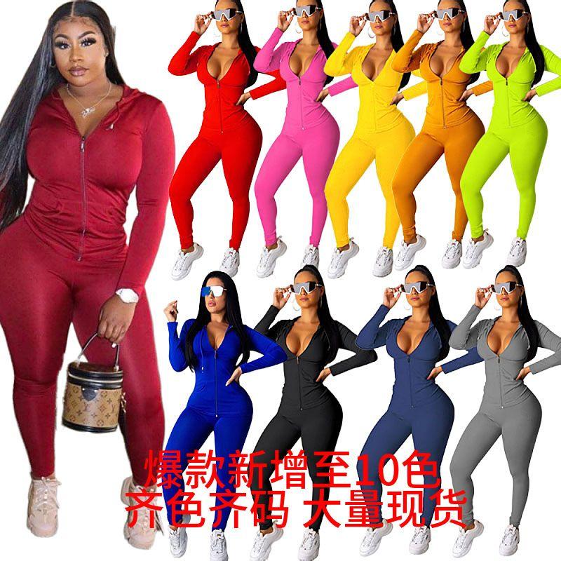 2021 Женские спортивные брюки Двухструктурные набор с длинным рукавом наряды на молнии Кардиган Plus Размер Спортивная одежда Joggers Street Одежда S-3XL