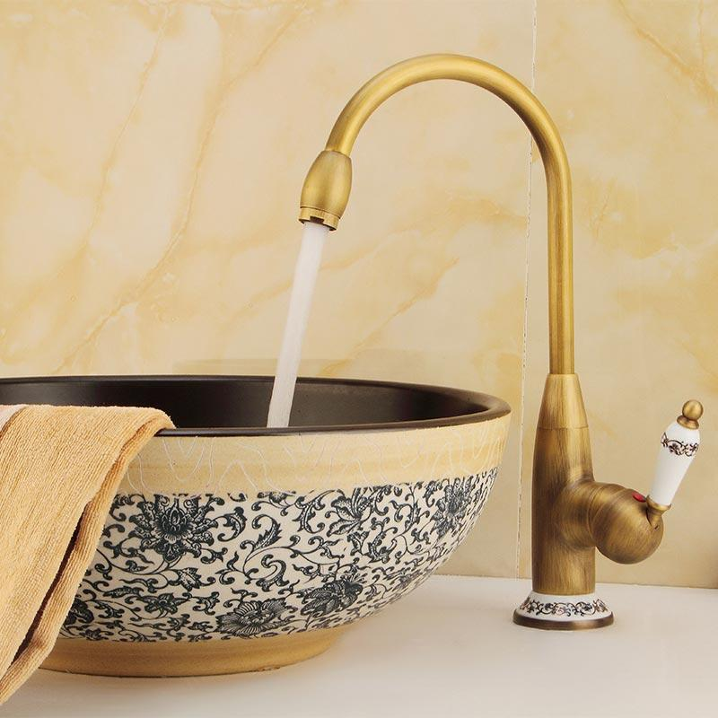 Kitchen Hot Cold Water Faucet Antique Copper Faucet Inlet And Outlet Pipe Diameter 8mm Seated Dual Mode Kitchen 60125F