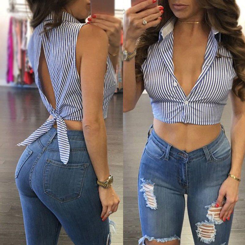 Cultivos atractiva del verano rayado azul Ba sleevel Mujeres top blusa de la camisa