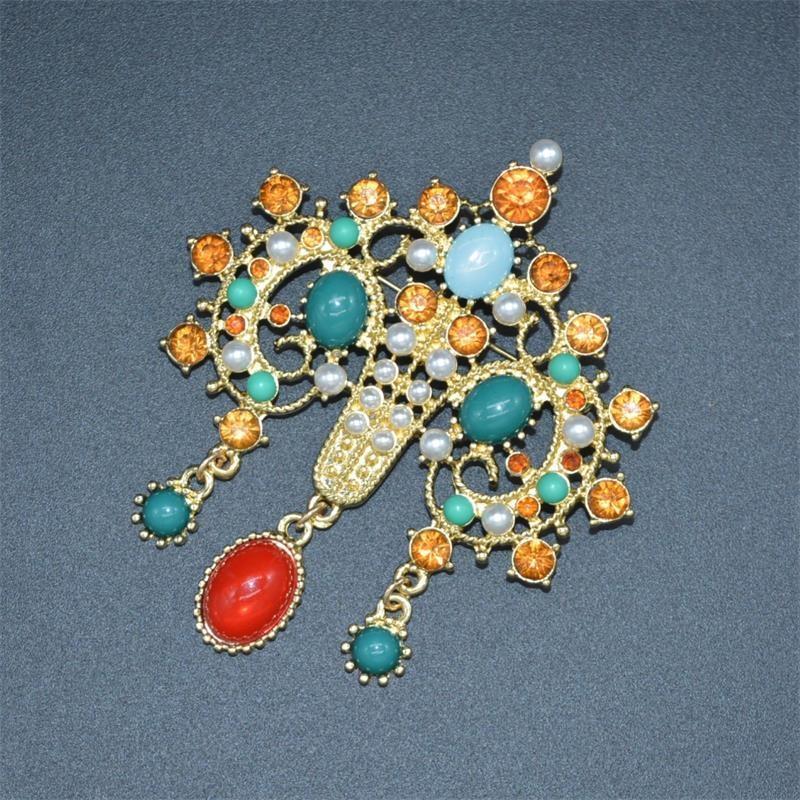 Qingdao mahkeme antika yeniden oyma renk hazine dolu elmas Qingdao Mahkemesi büyük broş bağbozumu kadın broş wqaq0
