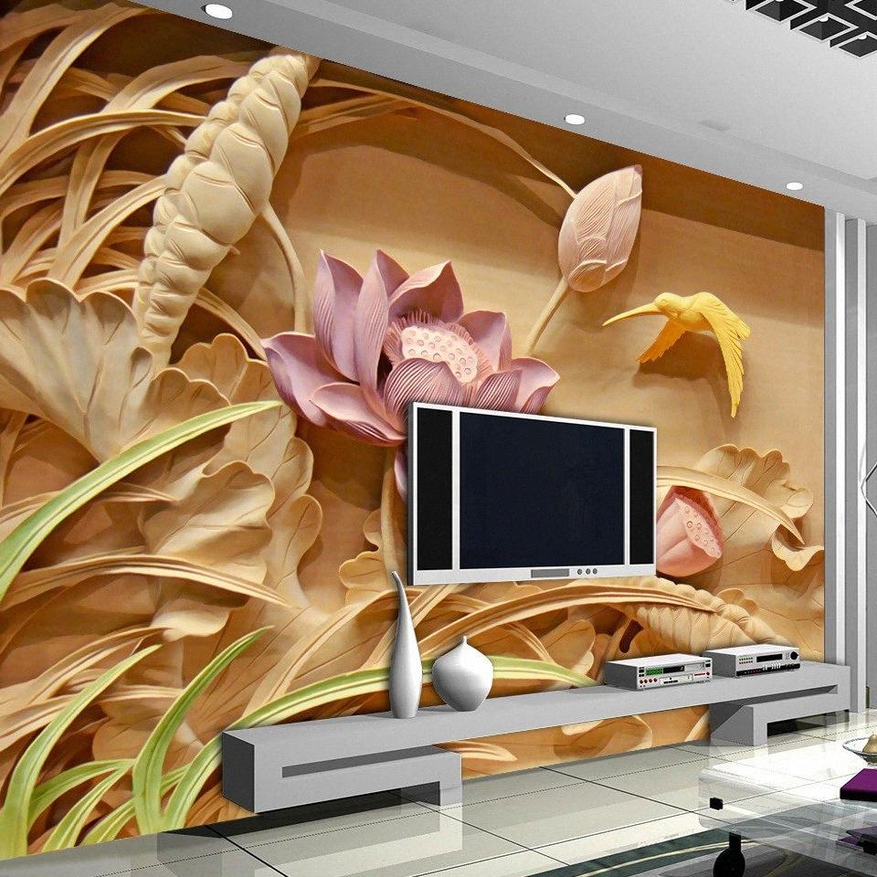 3D al por mayor de encargo de impresión imitación de talla de madera Telón de fondo de Lotus del estilo chino Mural 3D grandes murales Sala de TV pared del arte Wallpap LuPq #