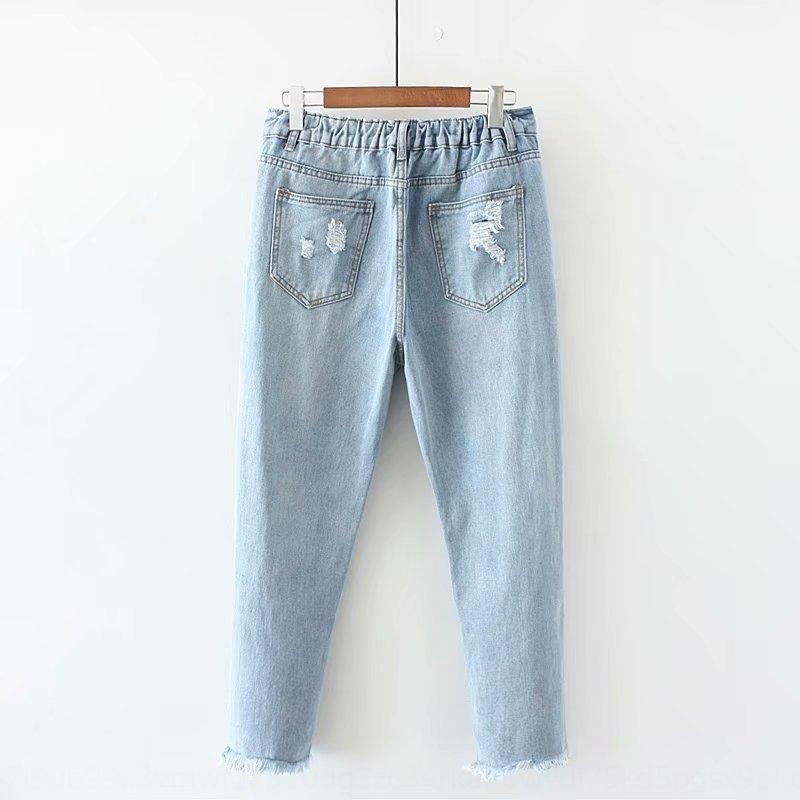 vo952 Pralle MM große Größe plus plump Frauen lösen Stickerei Loch Harlan Denim geerntete Hosen knöchellangen Hosen und Jeans Jeans 891 8016