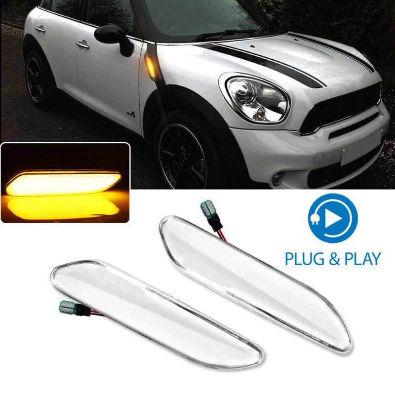 Amber LED Sequential Side Marker Signal Light Clear Lens For MINI Cooper R60 Countryman/R61 Paceman 2011-2020 Car Lights