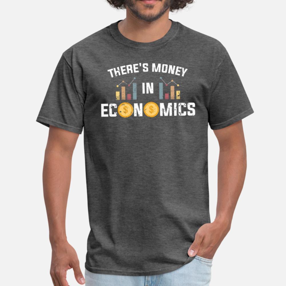 shirt Cute Economist denaro uomini della maglietta di stampa del cotone O del collo originale di base Primavera Kawaii