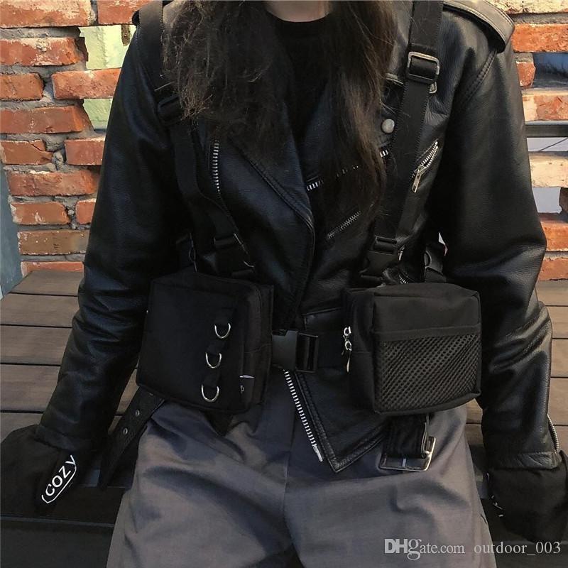 Men s gym bag Hip Hop Street Clothing Features Chest Vest Pockets Oxford Fanny backpacks Black Adjustable waist bag
