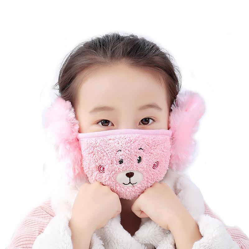 Motif animal mignon Flanelle Sofa épais chaud polaire respirant oreille Protect Face Mask hiver d'enfants