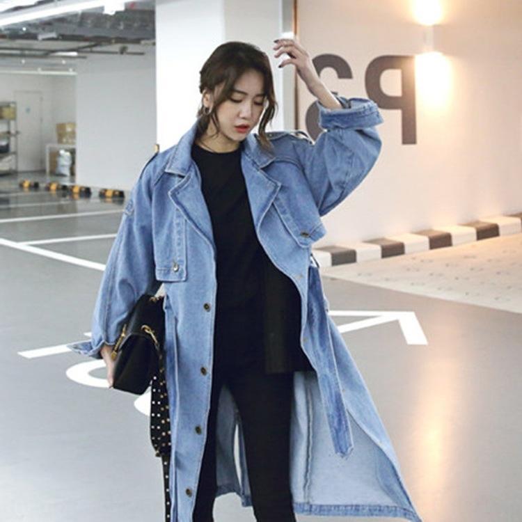 2020 Autunno New coreano Windbreaker Jacket stile dimagrante sciolto cappotto del denim di trincea di lunghezza media monopetto modo del rivestimento di vita LHH delle donne