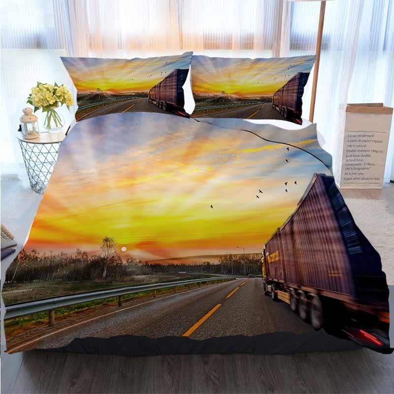 Literie 3 ensemble housse de couette camion POURSUIVRE route à la vitesse et Sunrise Livraison polyester housse de couette Ensembles de literie de luxe
